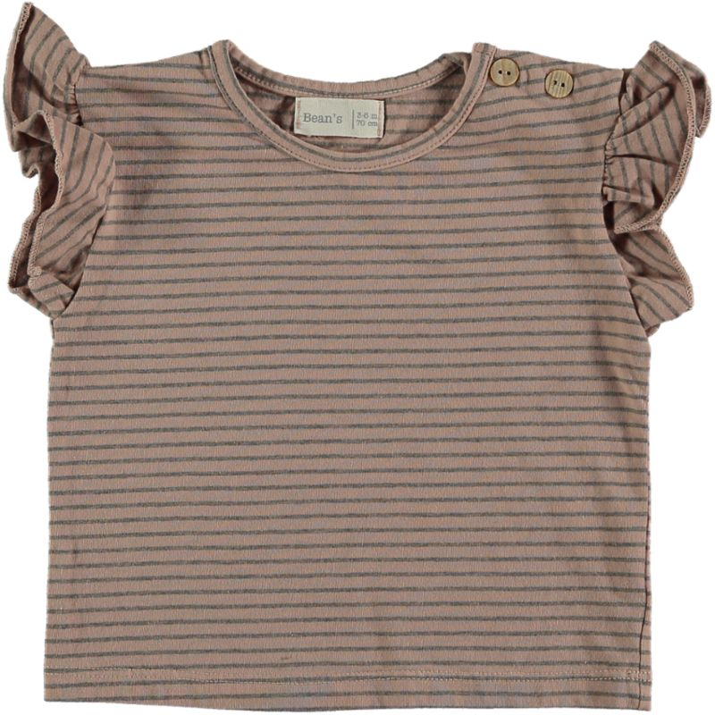 Striped flounce T-shirt pink