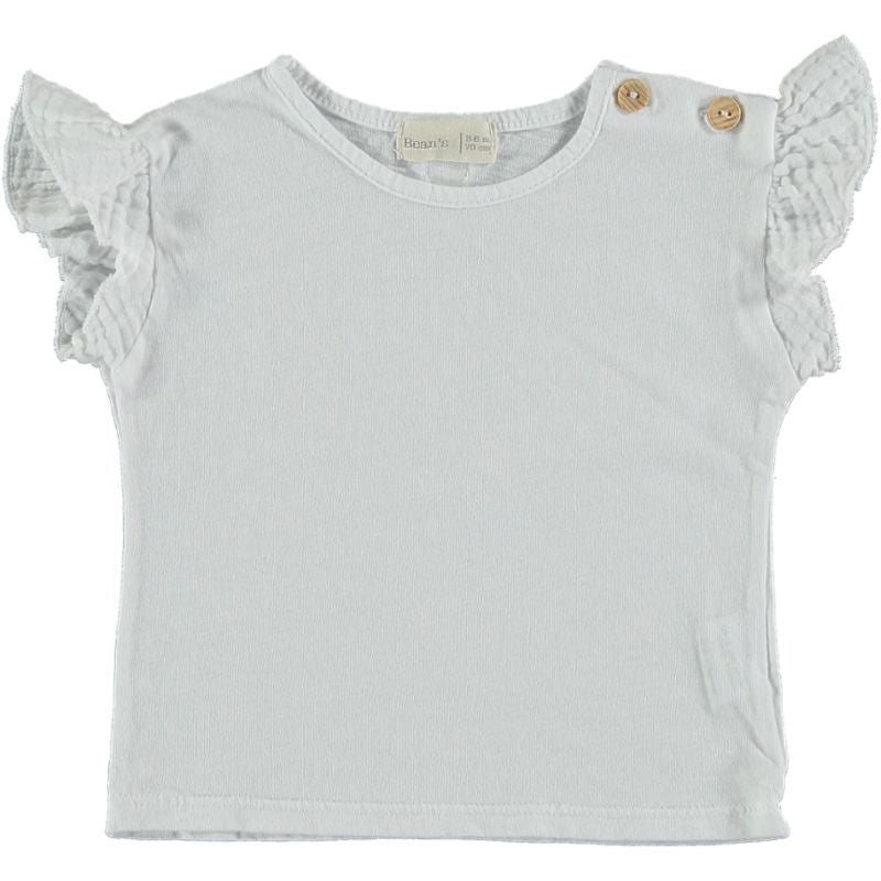 Cotton flounce T-shirt white
