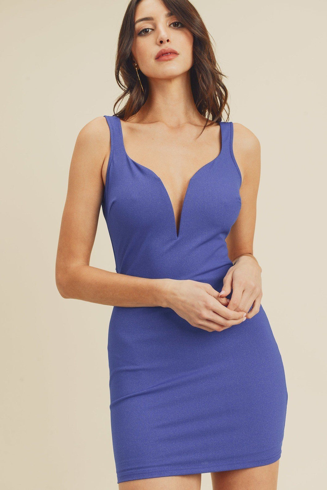 Open Back Plunging V-neck Bodycon Dress