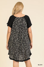 Load image into Gallery viewer, Short Ruffle Sleeve Round Neck Dress With Dalmatian Print Back And Ruffle Frayed Scoop Hem