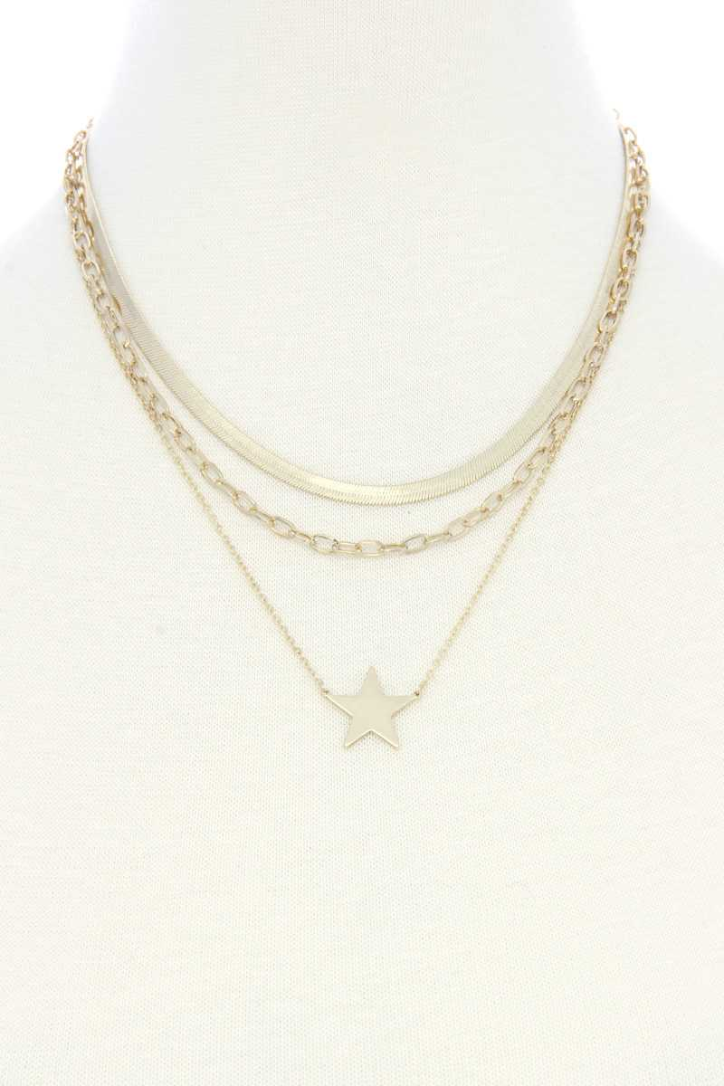 Triple Layer Star Pendant Metal Necklace