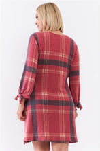 Load image into Gallery viewer, Plus Retro Red Plaid Bow Detail Midi Sleeve Relaxed Soft Mini Dress