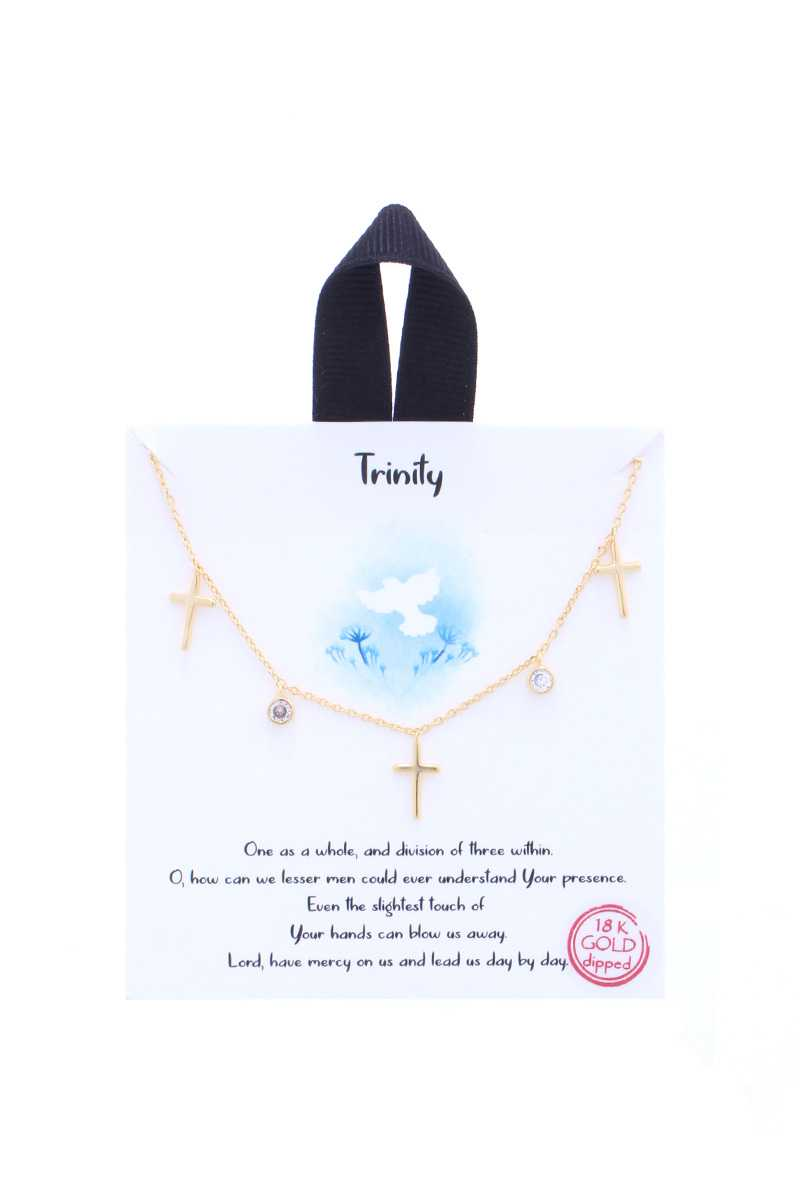 Trinity Cross Charm Message Necklace