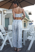 Load image into Gallery viewer, Silky Snake Print Sleeveless Crop Top & High Waist Flare Bottom Pants Set