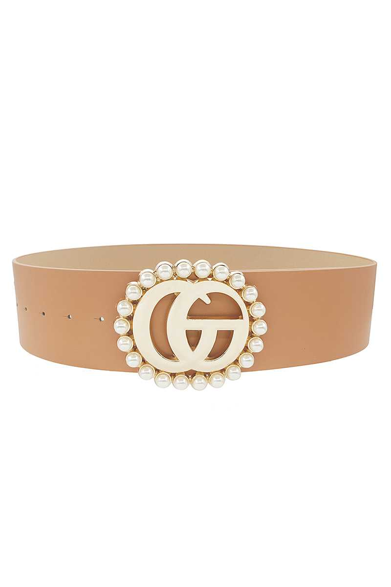 Pearl Trimmed Metal Buckle Wide Waist Belt