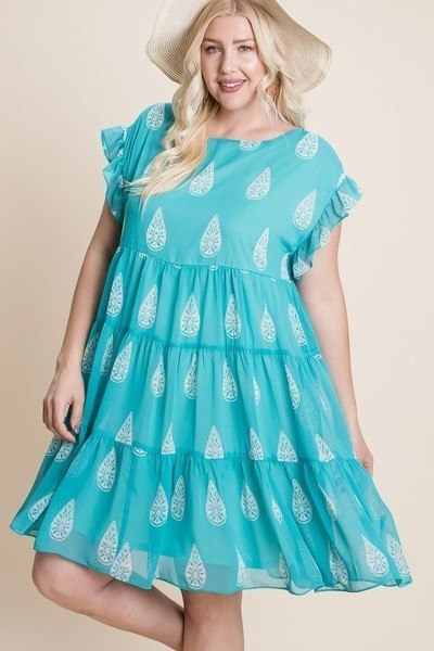 Plus Size Hi-multi Chiffon Printed Tiered Swing Dress