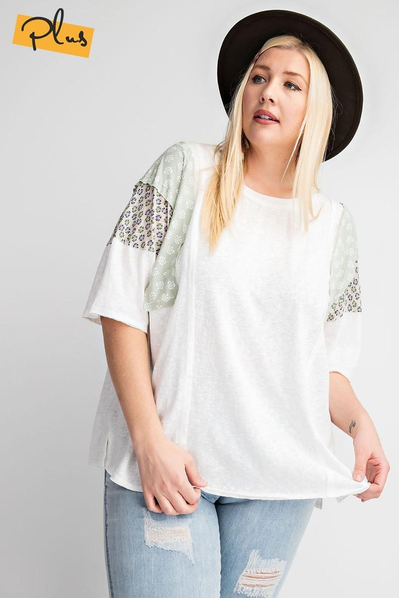 Short Sleeves Mix Prints Cotton Slub Loose Fit Top