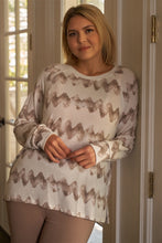 Load image into Gallery viewer, Plus Size Cream & Taupe Abstract Blur Print Relaxed Sweatshirt