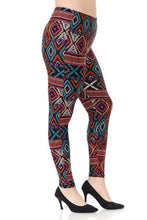 Load image into Gallery viewer, Plus Size Multi Print, Full Length Leggings In A Slim Fitting Style With A Banded High Waist