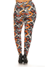 Load image into Gallery viewer, Plus Size Abstract Print, Full Length Leggings In A Slim Fitting Style With A Banded High Waist
