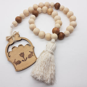 Deeper Fawn Shade Accent Modern Farmhouse Wood Bead Garland