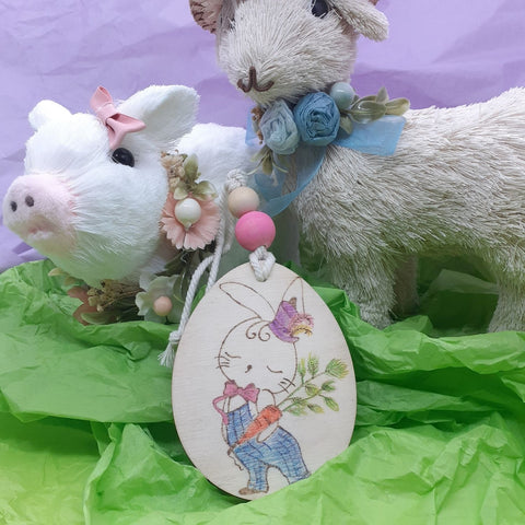 Hand drawn Bunny Easter Ornament
