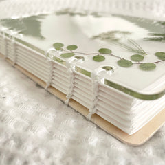 real pressed flower notebook, bound by hand for a wedding guestbook