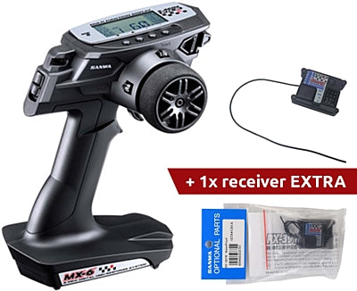 Sanwa MX-6 2.4GHz FH-E 3-Channel Tx Radio System w/ RX-391W 3-Channel Receiver x 2