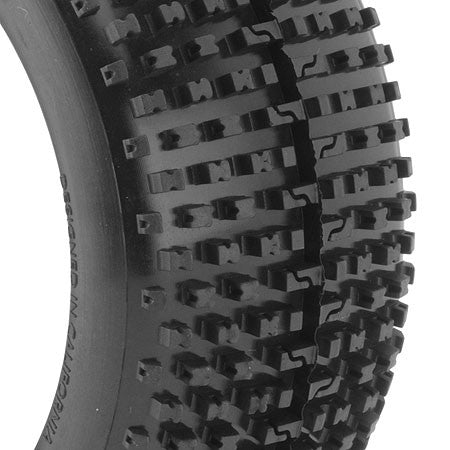 AKA Racing I-Beam 1/8 Buggy Tires (2) (Pre-Mounted) (White) (Soft - Long Wear) - RACERC