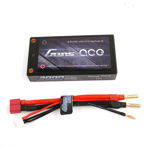 Gens Ace 3000mAh 7.4V 50/100C 2S1P 58# HardCase Lipo Battery Pack with 4.0mm Bullet to T plug+XHR