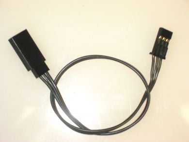 225mm Triple Black 22 gauge soft PVC servo extension - RACERC
