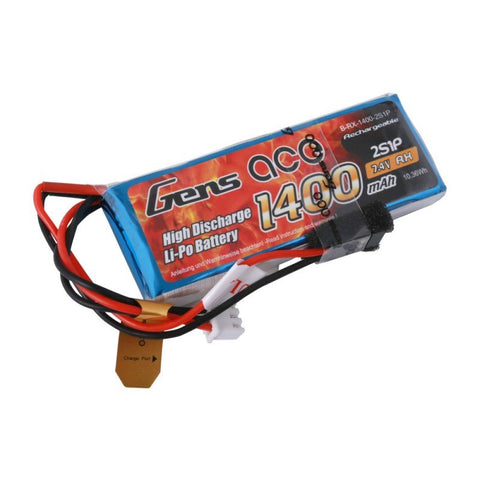 Gens ace 1400mAh 7.4V 2S1P Transmitter Lipo Battery Pack with JR-plug