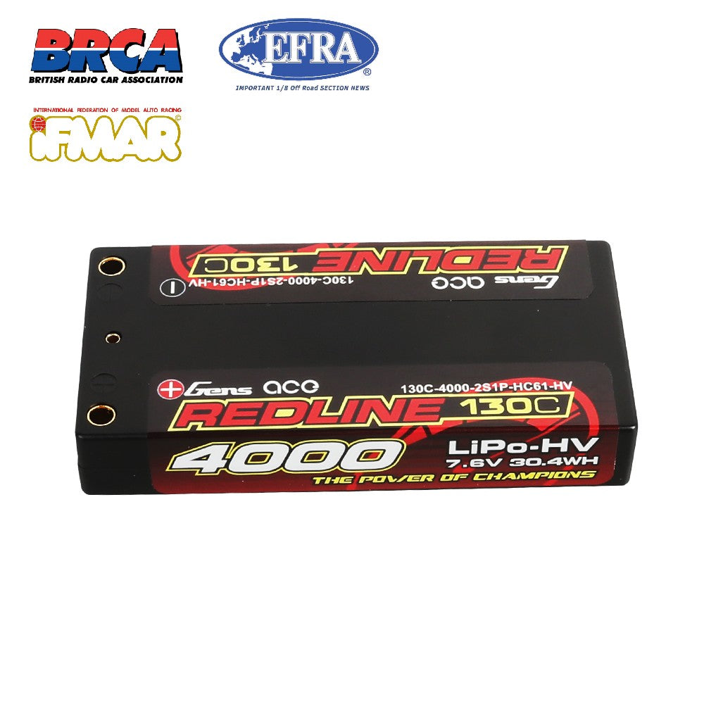 Gens ace Redline Series 4000mAh 7.6V 130C 2S1P HardCase HV Lipo Battery Pack with Hardcase 61#