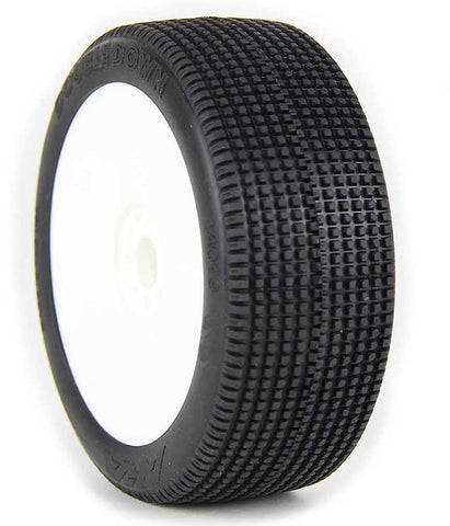 AKA Double Down 1/8 Buggy Pre-Mounted Tires (2) (Medium - Long Wear) - RACERC