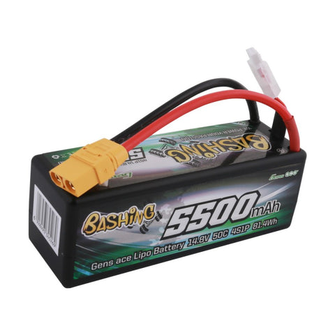 Gens ace bashing series 5500mAh 14.8V 50C 4S1P HardCase 14# car Lipo Battery pack with XT90 - RACERC