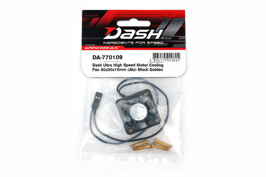 Dash Ultra High Speed Motor Cooling Fan 30x30x10mm (Alu) Black Golden (DA-770109) - RACERC