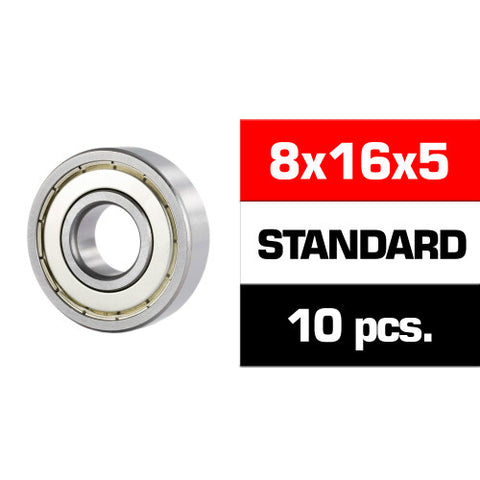 "8x16x5mm SELECT ""HS"" METAL SHIELDED BEARING SET (10pcs.) - RACERC"