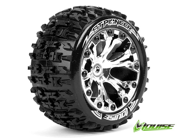 Louise RC - ST-PIONEER - 1-10 Stadium Truck Tire Set - Mounted - Soft - Chrome 2.8 Wheels - 0-Offset - Hex 12mm