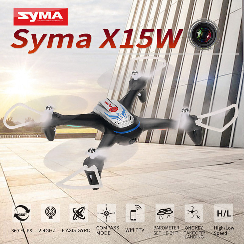 Syma X15W WiFi FPV With 0.3MP HD Camera Altitude Hold 3D Flips APP Control RC Quadcopter Camera Drone RTF - RACERC