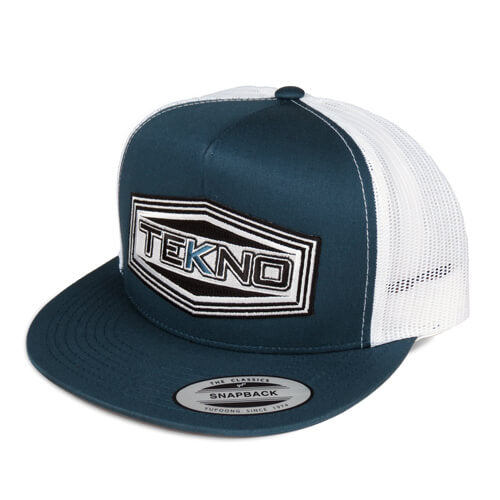 TKRHAT11F – Tekno RC Patch Trucker Hat (flat bill, mesh back, adjustable strap)