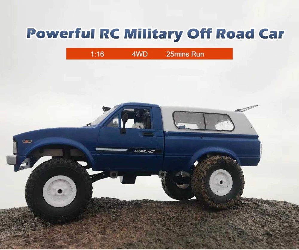 1/16 RTR 4WD 2.4G Military Truck Buggy Crawler Off Road RC Car 2CH Toy - RACERC