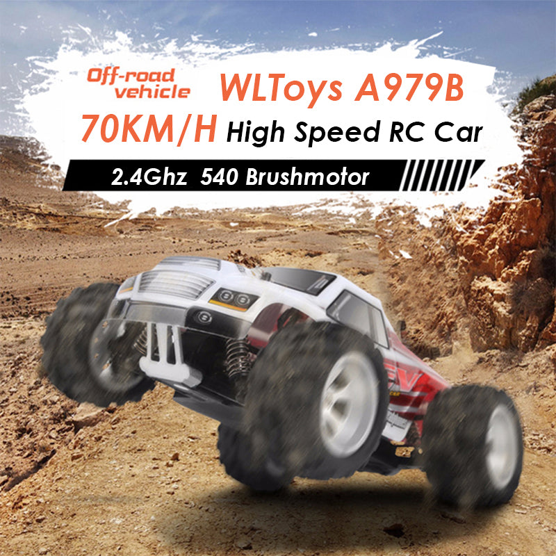 WLtoys A979-B 2.4G 1/18 Scale 4WD 70KM/h High Speed Electric RTR Monster Truck RC Car - RACERC