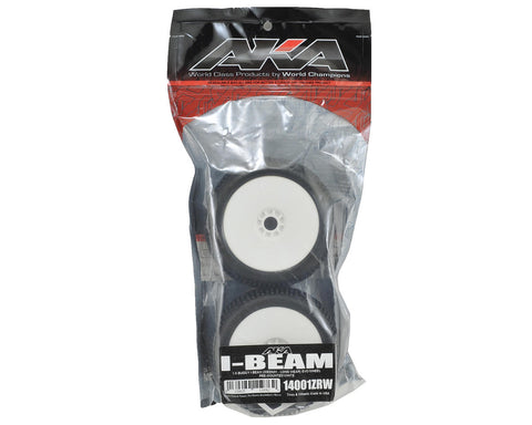 AKA Racing I-Beam 1/8 Buggy Tires (2) (Pre-Mounted) (White) (Medium - Long Wear) - RACERC