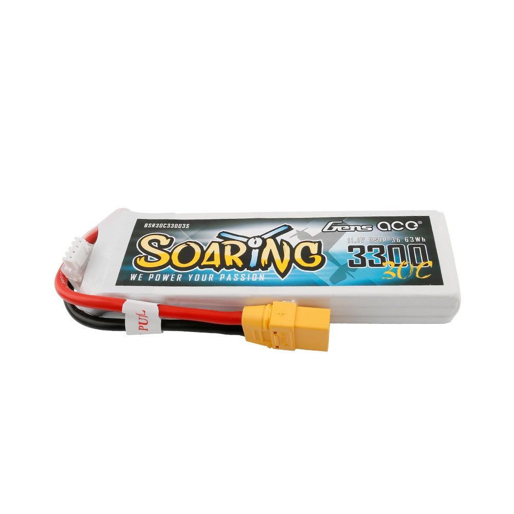Gens ace Soaring 3300mAh 11.1V 30C 3S1P Lipo Battery Pack with XT90 plug