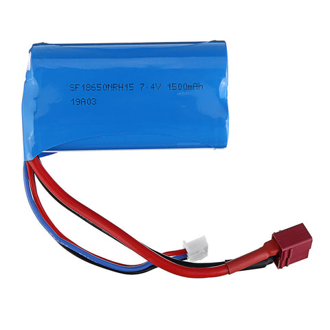 Wltoys 7.4V 1500mAh 15C 2S Lipo Battery T Plug for 12428 12423 A939 Rc Car Parts - RACERC