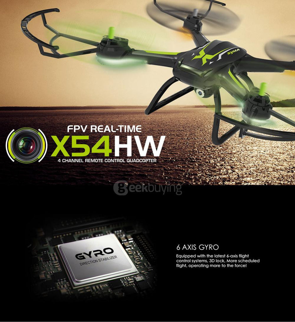 Syma X54HW FPV With 720P HD Camera 2.4G 4CH 6Axis Altitude Hold RC Quadcopter - RACERC