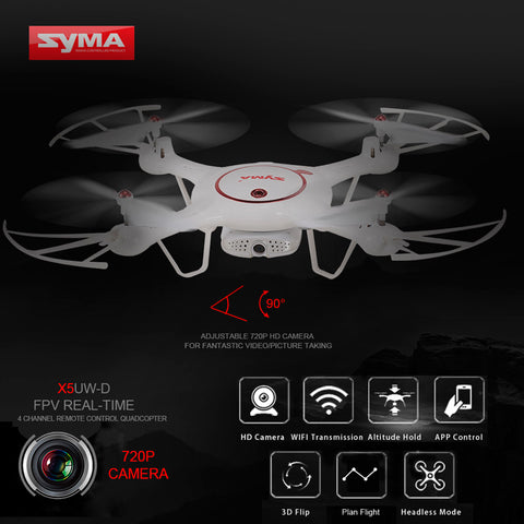 Syma X5UW-D Wifi FPV Adjustable 720P HD Camera RTF Optical Flow Positioning Altitude Hold Quadcopter - RACERC