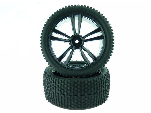 Himoto 31310B Black Buggy Rear Tires and Rims (31212B+31308) 2P - RACERC