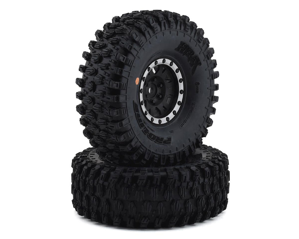 "Pro-Line Hyrax 1.9"" Tires w/Impulse Wheels (Black/Silver) (2) (G8) w/12mm Hex"
