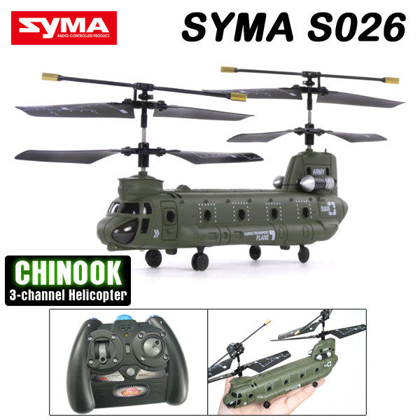 Syma S026G 3 CH Remote Control Mini Chinook RC Helicopter with GYRO - RACERC