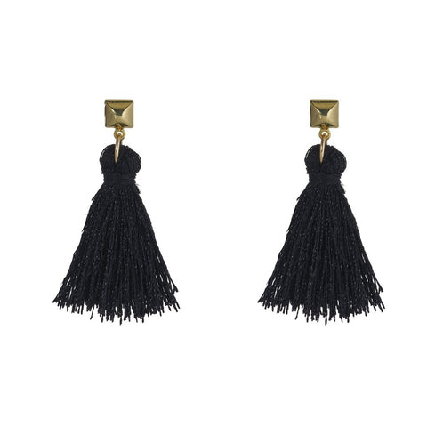 Bullet Stud WIth Tassel Earrings by Flaca Jewelry at Jophiel