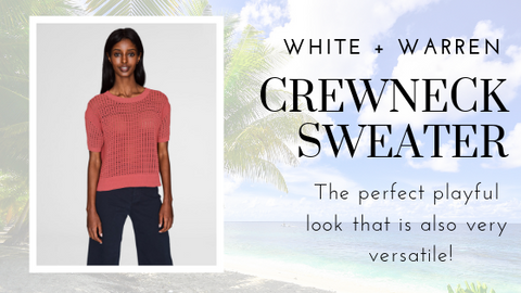 Corded Cotton Mesh Stitch Open Crewneck by White + Warren at Jophiel