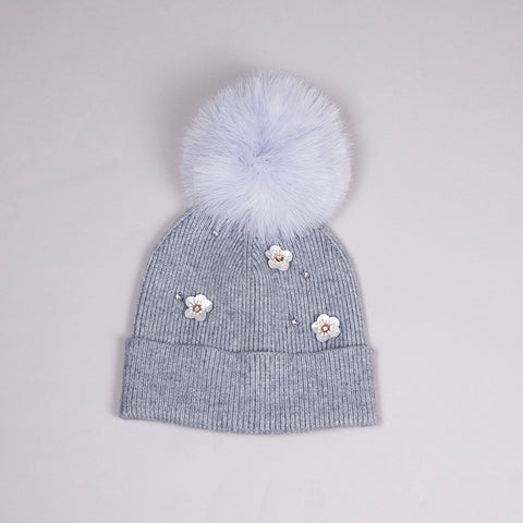 ECHO EMBELLISHED FLOWER HAT WITH FEATHER POM