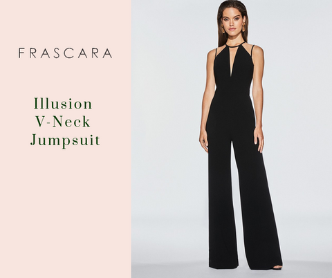 Illusion V-Neck Jumpsuit by Frascara at Jophiel