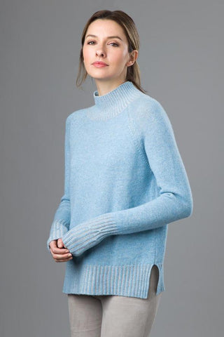 Plaited T-Neck Sweater by Kinross Cashmere