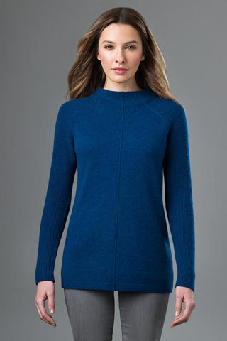 Rib Sleeve Mock Neck by Kinross Cashmere
