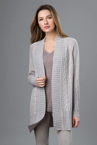 Plaited Cable Cardigan Sweater by Kinross Cashmere