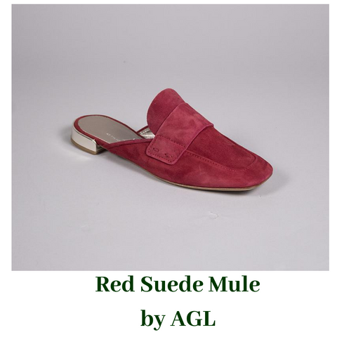Red Suede Mule by AGL
