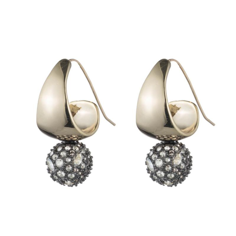 Hoop Pave Ball Drop Earrings by Alexis Bittar at Jophiel