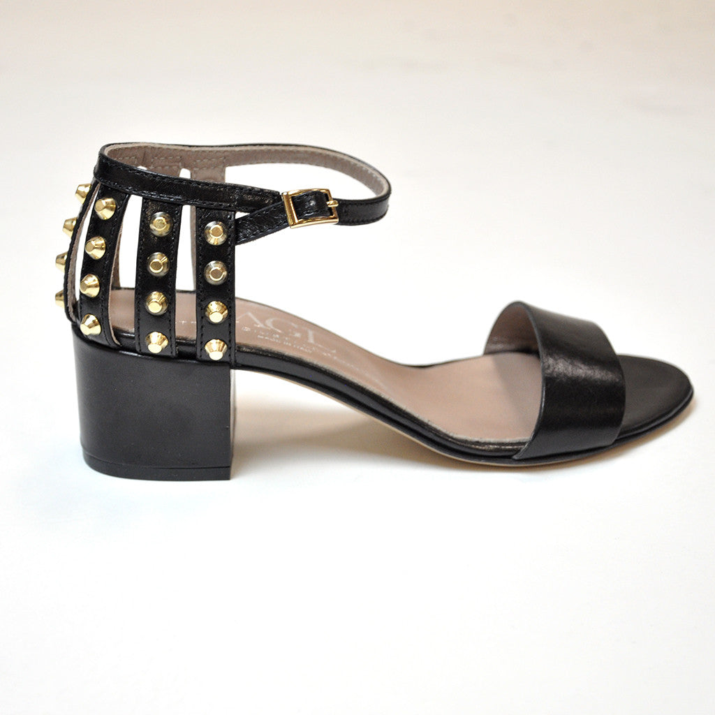AGL Block Heel Sandal with Spikes Jophiel
